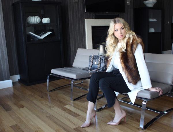 Faux Fur Vest in NYC - Stassi Schroeder
